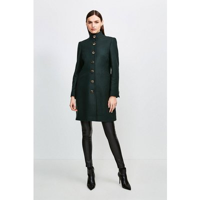 Karen Millen Multistitch Wool Blend Funnel Neck Coat -, Green