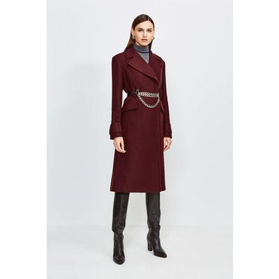 Karen Millen Chunky Chain Wool Coat, Fig