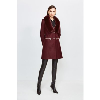 Karen Millen Long Pile Collar Zip Detail Coat, Fig