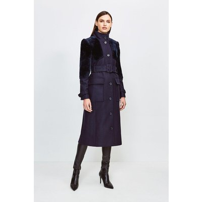 Karen Millen Sheepskin Panelled Belted Coat, Navy