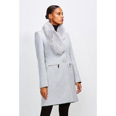Karen Millen Long Pile Collar Zip Detail Coat -, Grey