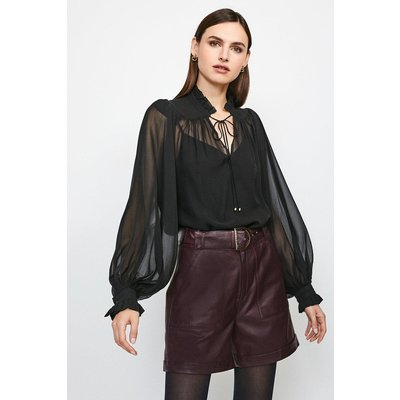 Karen Millen Silk Blouse With Fine Tucks, Black