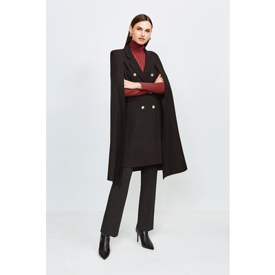 Karen Millen Notch Neck Tailored Cape, Black