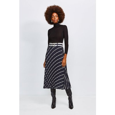 Karen Millen Logo Border Print Skirt With Sunray Pleats, Black