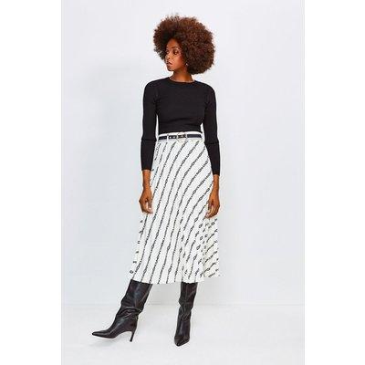 Karen Millen Logo Border Print Skirt With Sunray Pleats, Ivory