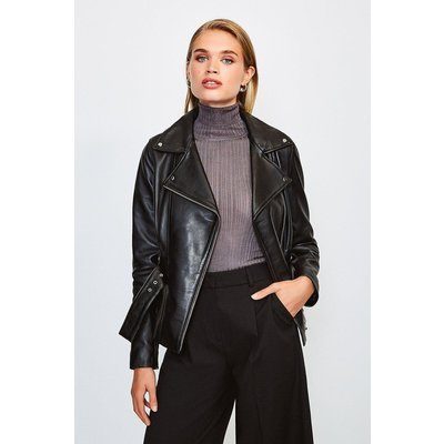 Karen Millen Leather Belted Jacket, Black