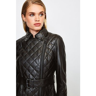 Karen Millen Leather Belted Quilted Jacket, Black