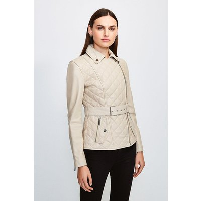 Karen Millen Leather Belted Quilted Jacket, Cream