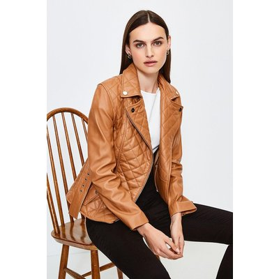 Karen Millen Leather Belted Quilted Jacket, Tan