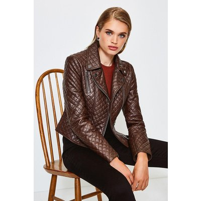 Karen Millen Leather All Over Quilted Biker Jacket, Brown