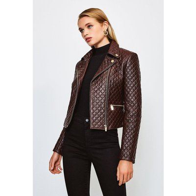 Karen Millen Leather All Over Quilted Biker Jacket, Fig
