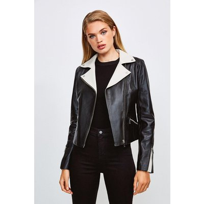 Karen Millen Leather Monochrome Signature Biker Jacket, Black