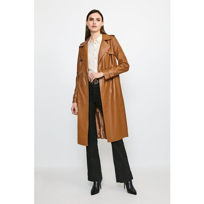 Karen Millen Faux Leather Trench Coat -, Camel