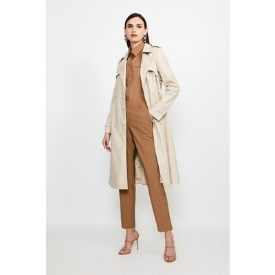 Karen Millen Faux Leather Trench Coat -, Cream