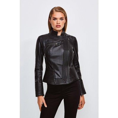 Karen Millen Leather Racer Biker Jacket, Black
