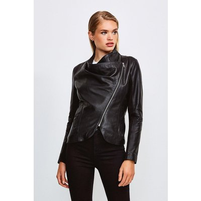 Karen Millen Leather and Ponte Envelope Neck Biker Jacket, Black