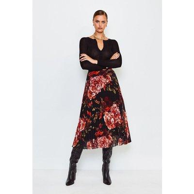 Karen Millen Floral Print Midi Pleated Skirt, Black