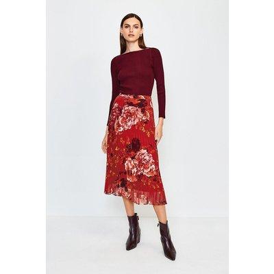 Karen Millen Floral Print Midi Pleated Skirt, Red