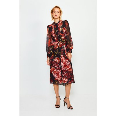 Karen Millen Long Sleeve Floral Print Midi Dress -, Black
