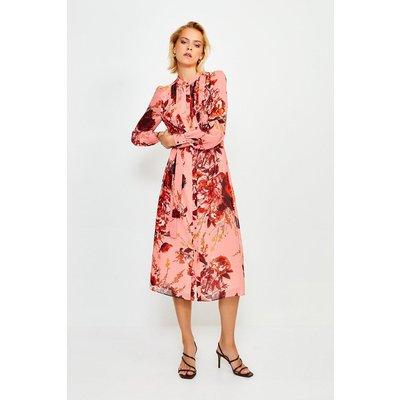 Karen Millen Long Sleeve Floral Print Midi Dress -, Navy