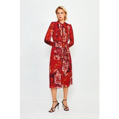 Karen Millen Long Sleeve Floral Print Midi Dress -, Red