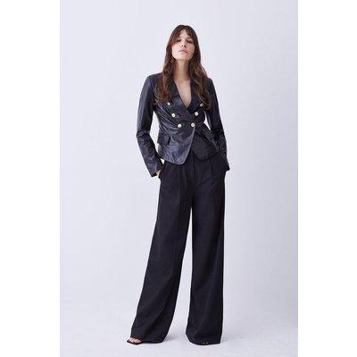 Karen Millen Leather Gold Button Blazer -, Black