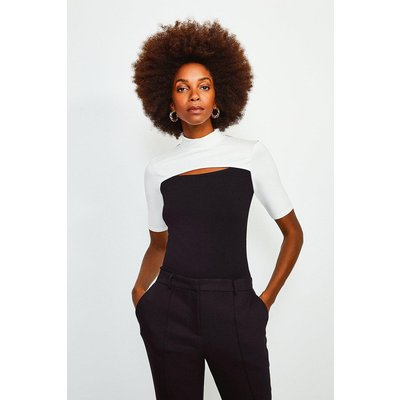 Karen Millen Colour Block Peep Hole Jersey Short Sleeve Top, Mono