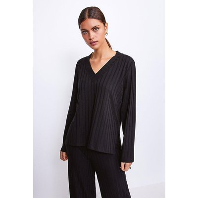 Karen Millen Ribbed Jersey Lounge V Neck Long Sleeve Top -, Black