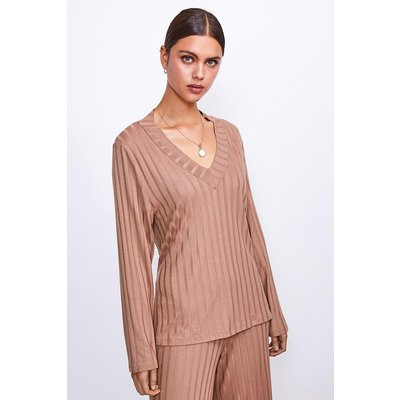 Karen Millen Ribbed Jersey Lounge V Neck Long Sleeve Top -, Camel