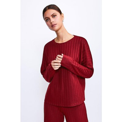Karen Millen Ribbed Jersey Lounge Round Neck Long Sleeve Top -, Red