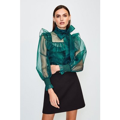 Karen Millen Long Sleeve Bow Neck Organza Blouse -, Green