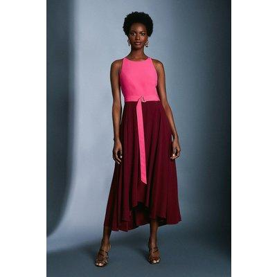 Karen Millen Colourblock Halter Neck Dress -, Red