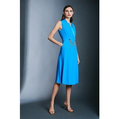 Karen Millen Chain Detail Collar Wrap Midi Dress -, Aqua