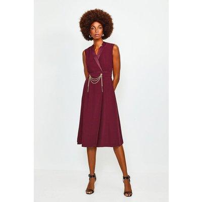 Karen Millen Chain Detail Collar Wrap Midi Dress -, Brick