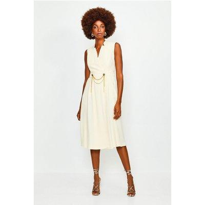 Karen Millen Chain Detail Collar Wrap Midi Dress -, Cream