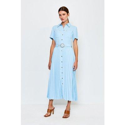 Karen Millen Plain Coloured Pleated Shirt Dress, Pale Blue
