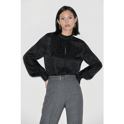 Karen Millen Label Silk High Neck Jacquard Blouse -, Black