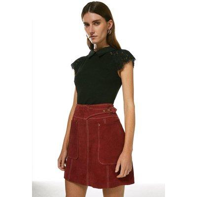 Karen Millen Collared Lace Panel Jersey Top -, Black