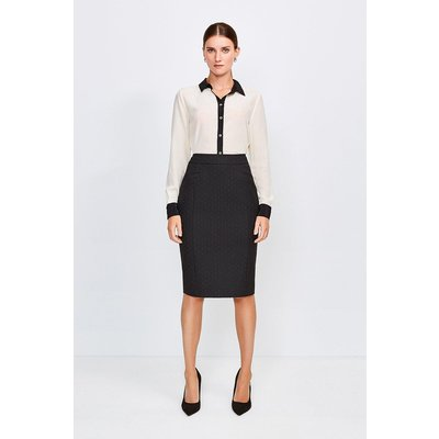 Karen Millen Pinspot High Waist Pencil Skirt -, Black