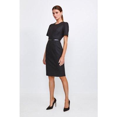 Karen Millen Pinspot Sleeved Shift Dress, Black