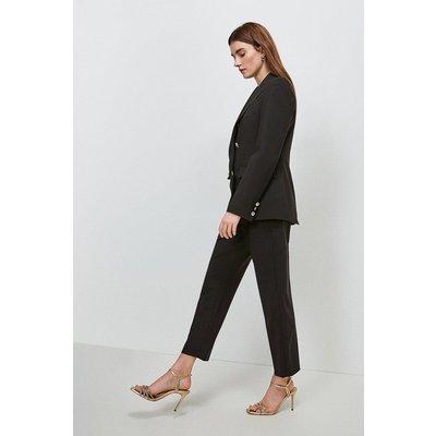 Karen Millen Polished Stretch Wool Blend Tapered Trouser -, Black