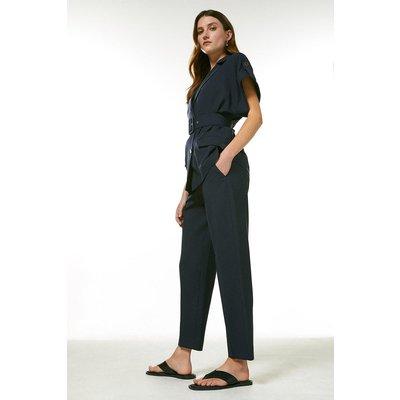 Karen Millen Polished Stretch Wool Blend Tapered Trouser -, Navy