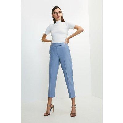 Karen Millen Polished Stretch Wool Blend Tapered Trouser -, Pale Blue