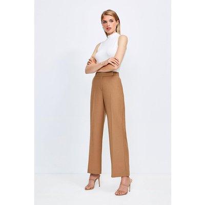 Karen Millen Polished Stretch Wool Blend Wide Leg Trouser, Camel