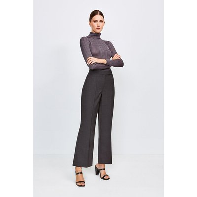 Karen Millen Polished Stretch Wool Blend Wide Leg Trouser, Charcoal