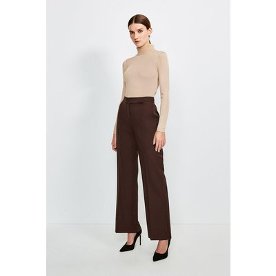 Karen Millen Polished Stretch Wool Blend Wide Leg Trouser, Brown