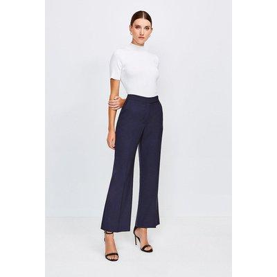 Karen Millen Polished Stretch Wool Blend Wide Leg Trouser, Navy