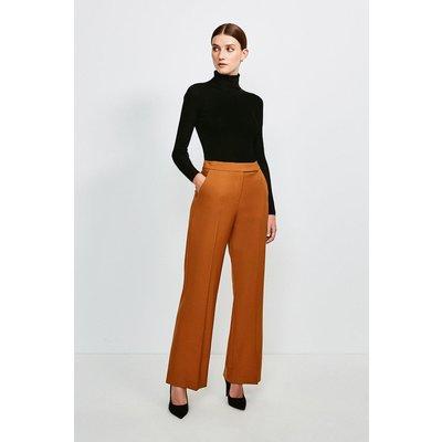 Karen Millen Polished Stretch Wool Blend Wide Leg Trouser, Tan