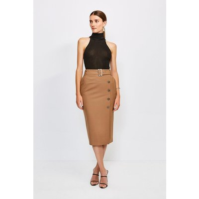Karen Millen Polished Stretch Wool Blend Pencil Skirt -, Camel
