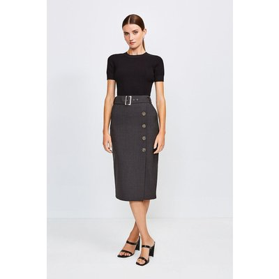 Karen Millen Polished Stretch Wool Blend Pencil Skirt -, Charcoal